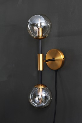 Brass & Glass Twin Globe Wall Light
