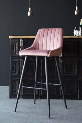 Tall Casino Velvet Bar Chair - Rose Pink