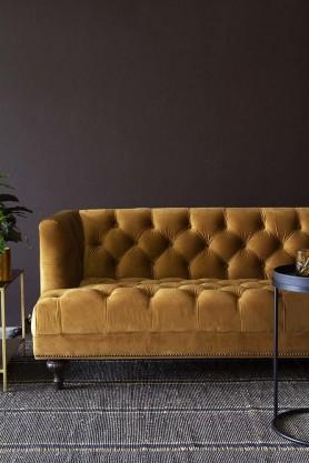 Ochre Gold Velvet Chesterfield Sofa