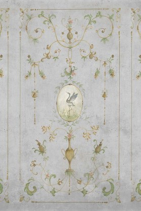 Close-up image of the Chinoiserie Panel Wallpaper Mural - Mirto Chai Seed
