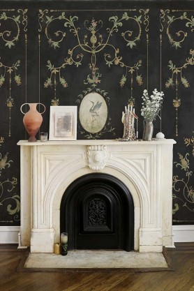 Lifestyle image of the Chinoiserie Panel Wallpaper Mural - Mirto Coal