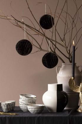 Set Of 3 Honeycomb Ball Hanging Decorations - Black