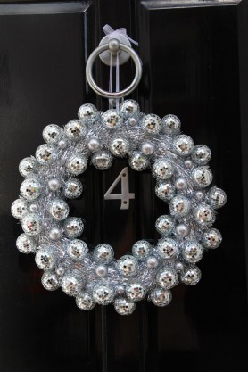 Image of the Mirror Ball Disco Wreath on a front door