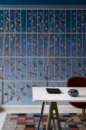Lifestyle image of the Uccelli Wallpaper - Cerulean Sky by Cole & Son