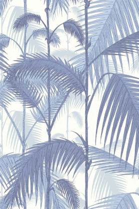 cutout Image of Cole & Son Contemporary Restyled - Palm Jungle Wallpaper - China Blue 95/1005 blue tones palm leaves on a pale background