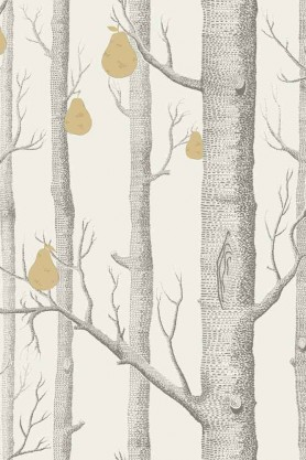 Close-up detail image of the Cole & Son Contemporary Restyled - Woods & Pears Wallpaper - Bronze on Black grey tree trunks and gold pears on pale yellow  background