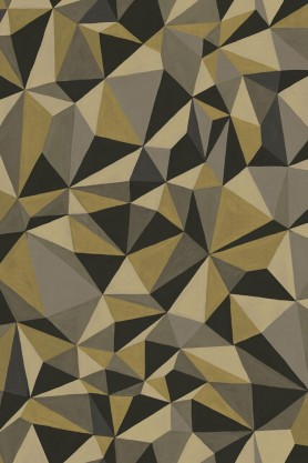 Close-up detail image of the Cole & Son Curio Collection - Quartz Wallpaper - Gold & Silver green black and grey geometric pattern