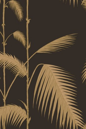 cutout Image of Cole & Son New Contemporary - Palm Leaves Wallpaper - Black & Gold gold palm leaves on a black background