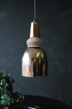 Large Bell Copper & Wood Pendant Light