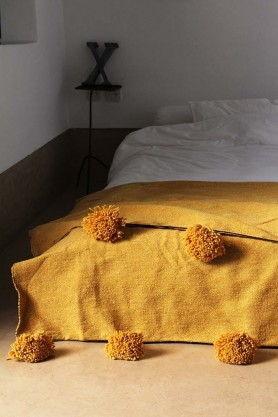 Cotton Pom Pom Blanket 200x300cm - Mustard
