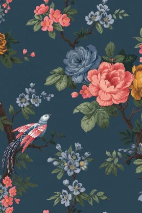 Swatch detail image of the Dawn Chorus Ink Blue Wallpaper by Pearl Lowe