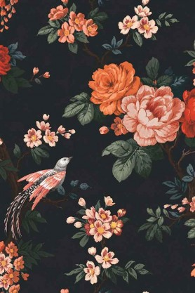 Swatch detail image of the Dawn Chorus Noir Black Wallpaper by Pearl Lowe