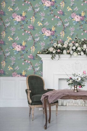 Lifestyle image of the Dawn Chorus Forest Green Wallpaper by Pearl Lowe