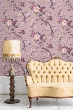 Lifestyle image of the Dawn Chorus Smokey Heather Wallpaper by Pearl Lowe