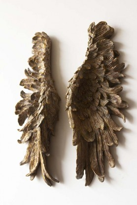 Distressed Bronze Angel Wings Wall Art