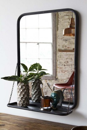 Distressed Mirror With Floating Shelf