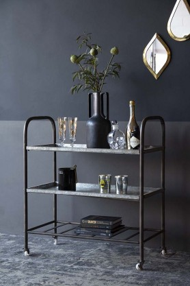 Distressed Tin Utility Drinks Trolley