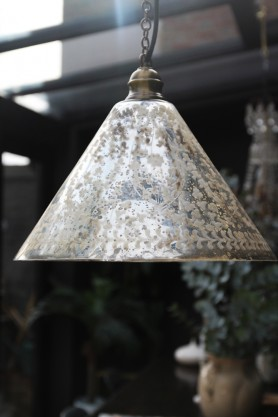 Etched Glass Cone Shade Ceiling Light