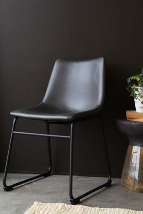 Parker Faux Leather Dining Chair - Charcoal Grey