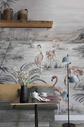 Lifestyle image of the Flamingo Chinoiserie Wallpaper Mural - Chai Seed