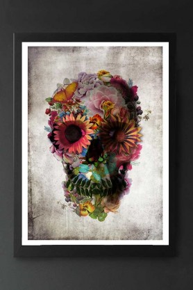 Unframed Flower Skull Fine Art Print