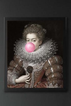 Pink Bubblegum Queen Portrait Canvas