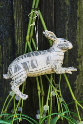 Frosted Newsprint Hare Decoration