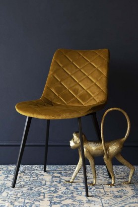 Gala Velvet Dining Chair - Golden Ochre