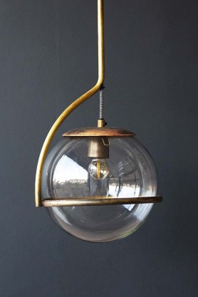 Close-up lifestyle image of Glass Globe Ceiling Light