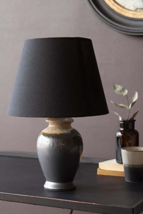 Lifestyle image of the Small Kiln-Fired Grey Table Lamp