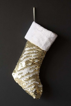 Image of the Gold & White Glitzy & Glamorous Sequin Stocking with sequins pushed up