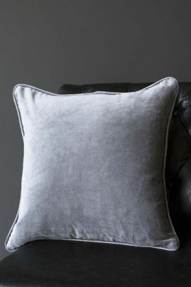 Glorious Velvet Cushion - Pale Grey