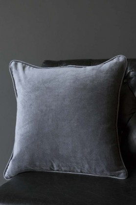 Glorious Velvet Cushion - Slate Grey