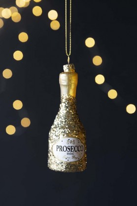 Gold Glitter Prosecco Bottle Hanging Decoration