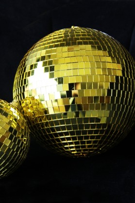 Image of the Large Golden Disco Ball Decoration