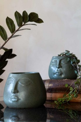 Image of both the Small & Large Green Peaceful Face Stoneware Flower Pots