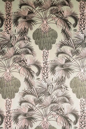cutout Image of the Cole & Son Martyn Lawrence Bullard Collection - Hollywood Palm Wallpaper - Rose Gold pink and green coloured palm trees on khaki background
