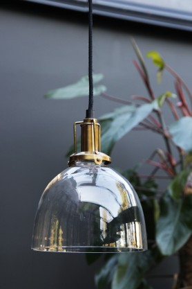 Clear Glass Dome Ceiling Light With Brass Fittings