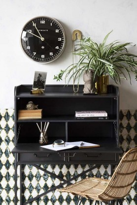 Lifestyle Image of the open Industrial-Style Bureau Sideboard Storage Cabinet & Desk