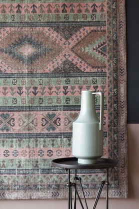 Jaipur Green & Coral Cotton Dhurrie Rug