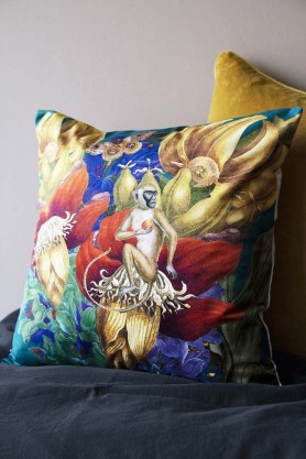 Vibrant Jungle Velvet Cushion