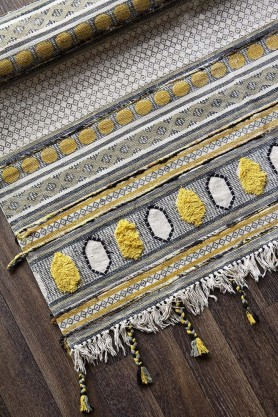 Kolkata Yellow, Black & Grey Cotton Tassel Rug