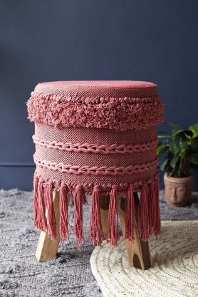 Large Tassel Drum-Style Stool - Raspberry
