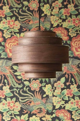 Lifestyle image of the Walnut Layered Ceiling Pendant Light with the Rockett St George Oriental Garden Wallpaper in the background
