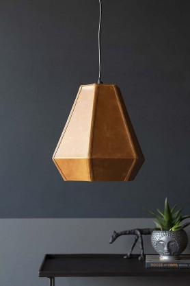 Hexagonal Pyramid Leather Pendant Light