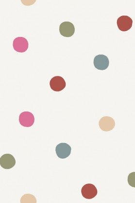 Close-up detail image of Cole & Son Lilleby Collection - Polka Dot Wallpaper - Multi coloured spots on nude background