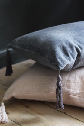 Cotton Quad Tassel Cushion - Slate Grey