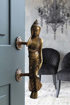 Lying Buddha Brass Door Handle