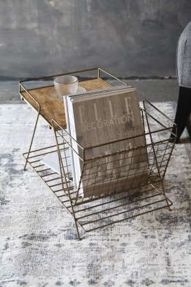 Brass Magazine Rack with Wooden Shelf