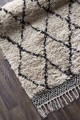 Natural & Black Diamond Benni-Style Cotton Rug